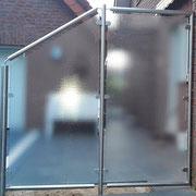 Edelstahl-Wind-(Sicht)-Schutz mit satiniertem Glas