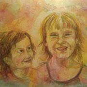 Schwestern 1  2009;  Gouache auf Leinwand;  80x60 cm  Privatbesitz