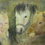 Opa mit Ponys  2009;  Gouache auf Leinwand;  100x70 cm  Privatbesitz