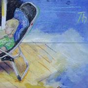 reading..   2009  Mischtechnik auf Holz;  ca. 40x60 cm  Privatbesitz