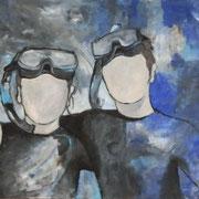 zusammen auftauchen  2012;  Gouache auf Leinwand;  100x80 cm