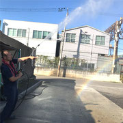 洗車機で虹