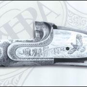 Ripa incisione manuale inglesina con paesaggio, bulino, punta e martello, bascula fucile da caccia