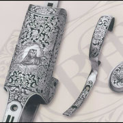 Ripa incisione manuale ornato con soggetto, bulino, punta e martello, bascula fucile da caccia