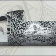 Ripa incisione manuale ornato con paesaggio, bulino, punta e martello, bascula fucile da caccia