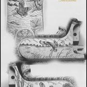 Ripa incisione manuale paesaggio, bulino, punta e martello, bascula fucile da caccia