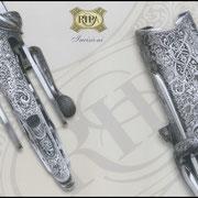 Ripa incisione manuale ornato bulino, punta e martello, bascula fucile da caccia
