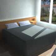 Tête de lit en bois de chêne naturel clair
