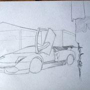 Fin du dessin au crayon de la Lamborghini