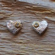 Silber-Ohrstecker mit Goldbelötung und Brillanten