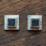 Silberohrstecker mit Kristallachaten in Goldfassung
