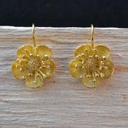 Butterblümchen-Ohrhänger, 750/- Gelbgold