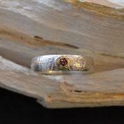 Silberring mit Goldbelötung und Turmalin