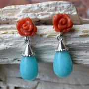 Ohrhänger aus Silber mit Korallenrosen und Amazonitpampeln