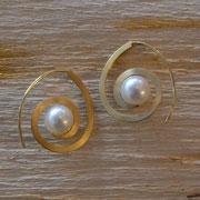 """750er Ohrhänger """"Spirale"""" mit Perlen"""