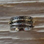Silber-Hohlkehlring mit beweglichen Ringen