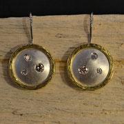 Ohrhänger Silber/ Gold mit Brillanten