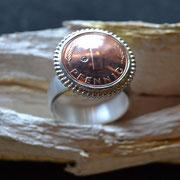 Silberring mit original Glückspfennig und Brillanten
