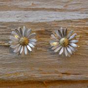 Gänseblümchen-Ohrstecker aus Silber, 750/- Gelbgold
