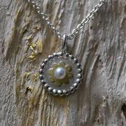 Silberanhänger mit Gold und Perle