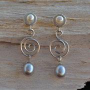 Silberohrhänger mit auswechselbaren Perlen