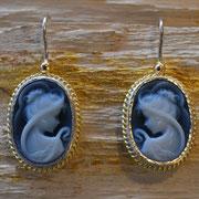 Ohrhänger mit Kammee, Silber und 750/- Gelbgold