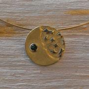 750er Gelbgoldbelötung auf Silber mit Turmalin