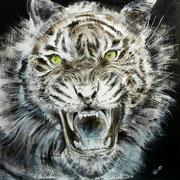 Tiger, Lack, Acryl auf Leinwand 100 x 100 cm