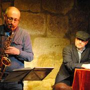 """Thomas Kastura und Oliver Herrmann (am Saxophon) in """"Der Wörcher von Weipelsdorf"""""""