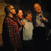"""Beim Finale der Gala """"Zum Lachen in den Keller"""" mit Michael Bauer, Ursula Gumbsch, Rolf Böhm und Arnd Rühlmann (v.l.n.r.)"""
