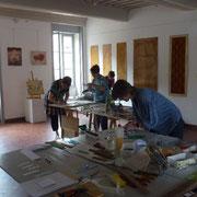 """mit Barbara und Jaqueline an einem """"Vitrail"""" Kurs in Romenay"""