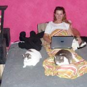 Beate mit ihren drei Katzen Oulima, Muxi und Grisette