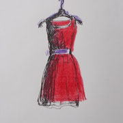 Red dress, 17 x 14 cm, pencils