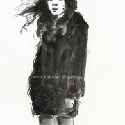"""Black coat"", small size, monolith and water colors on paper"