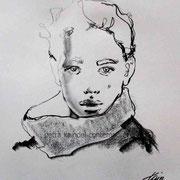 Portrait, 22 x 18 cm, monolith pencil on paper