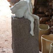 Pièce crue attendant l'enfournement - Noborigama Caco et Sylvie - - Bouquet de Flammes -