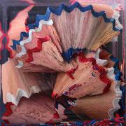 Shavings Red, Blue and White 2018 || Óleo sobre tabla, 100 X 100 cm.