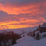 Sonnenuntergang auf der Kleinlachtalhütte