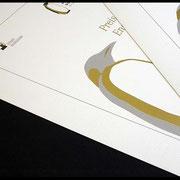 Kombination Siedruck: Gold/Digitaldruck: Grau/Schwarz