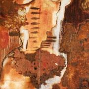 """""""Sans titre"""";Huile, fusain, métal sur toile contrecollée sur bois.Collection privée."""
