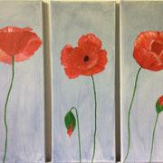 Mohnblumen-Trio, je 20x50 cm