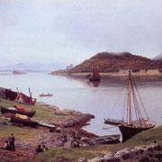 Peinture de la baie d'Oban par Hans Gude en 1889
