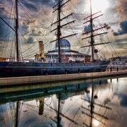RRS Discovery accosté dans le port de Dundee