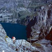 Im steilen, gut gestuften und gesicherten Schlussstück zur Fründenhütte