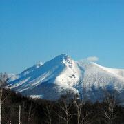 緑の村内から見た、駒ケ岳 珍しい角度です