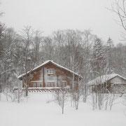 寒々しい写真ですが ログハウスの中はほかほかです ホント