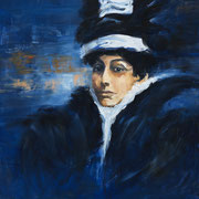 Femme en société - Huile sur toile, 100*81 - Vendu