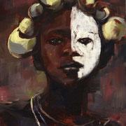 Femme masquée - Huile sur toile, 33*24 - Vendu