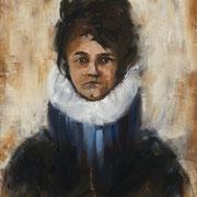 Femme à la cour - Huile sur toile, 100*81