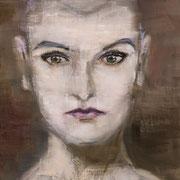 Femme défiante - Huile sur toile, 33*24